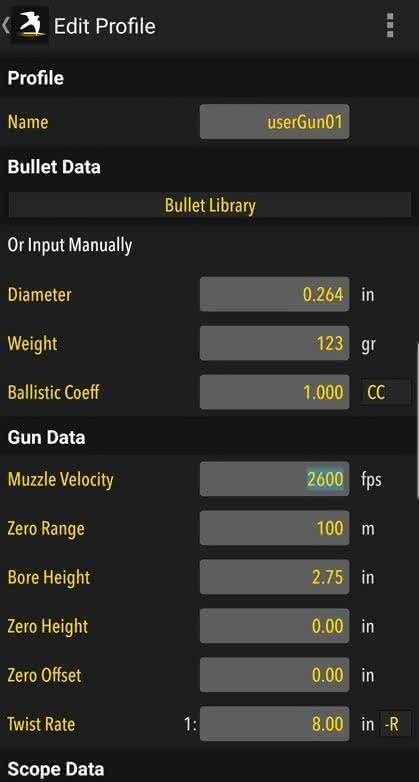 Build and manage gun/bullet profiles